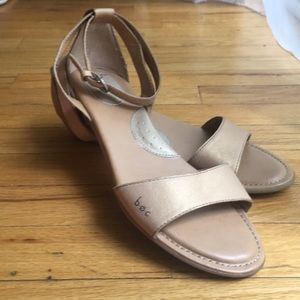 B.O.C tan wedge ankle strap sandals